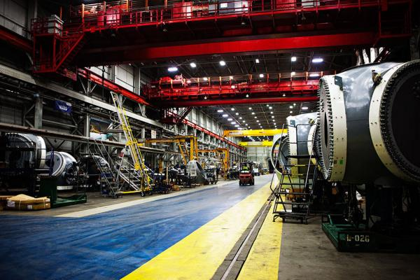 Gamesa's factory is a cavernous building that once housed a U.S. Steel foundry. It's about the length of two football fields and produces one nacelle per day.