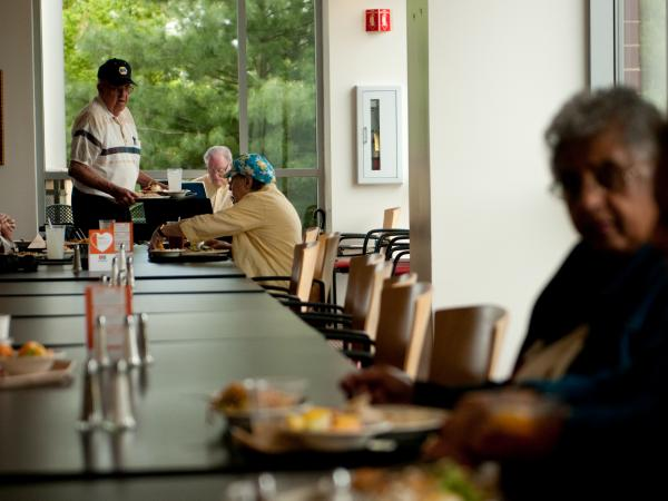 Twice a week, local seniors in Warrenton, Va., flock to the hospital's cafeteria, called The Bistro, for a meal, a great view and musical accompaniment by a retired piano player from a nearby Nordstrom's.