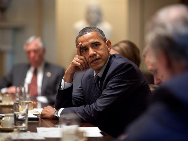 President Obama meets with members of Congress in the Cabinet Room of the White House in 2010.