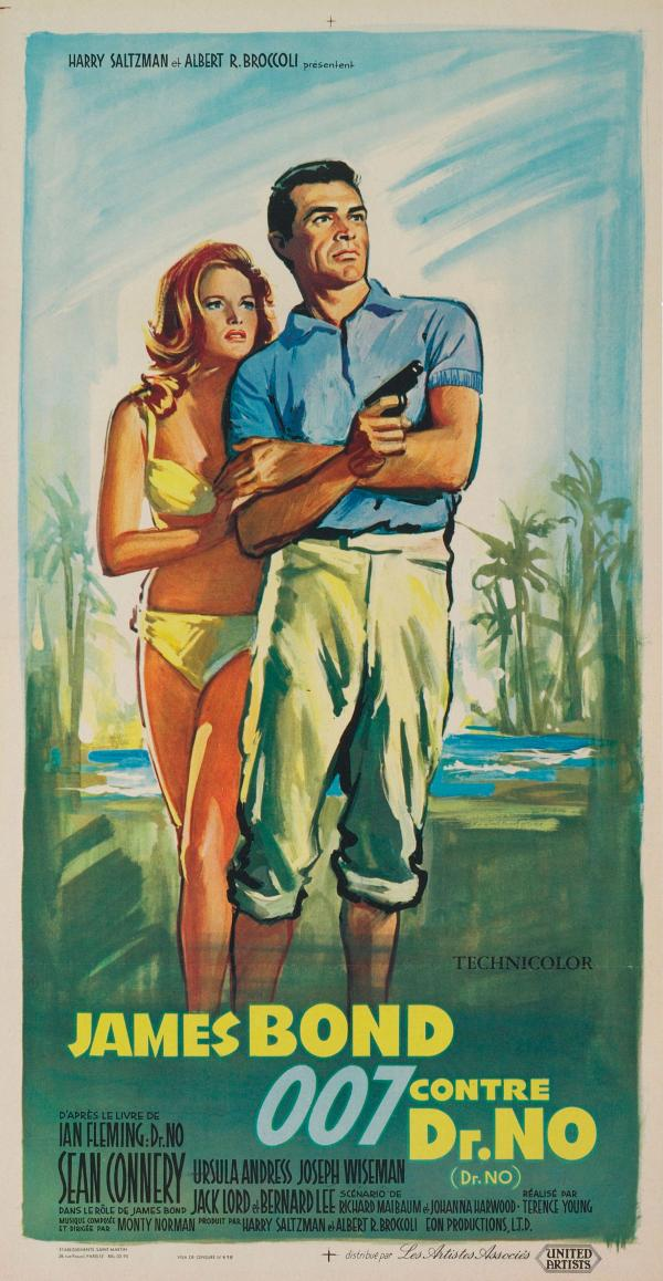 <strong>1963:</strong> Painted by renowned, Russian-born poster artist Boris Grinsson, this tropical fantasy conveys the tension of Bond and Honey's arrival on Crab Key — Dr. No's Island. Grinsson worked from photographs and his distinctive, painterly style distinguished hundreds of posters for French, American and Italian films. Title translation: James Bond Versus Dr. No.