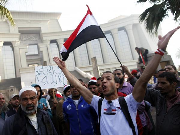 Hundreds of supporters of Egypt's president Mohammed Morsi protested outside a top Egyptian court Sunday in Cairo.