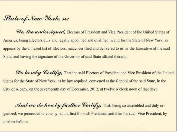 An image of New York's Electoral College certificate.
