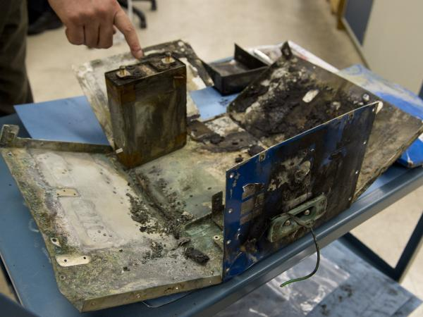 This Boeing 787 battery case was damaged in a fire in Boston earlier this month. The state-of-the-art aircraft is still grounded, as the investigation of the fire's cause continues.