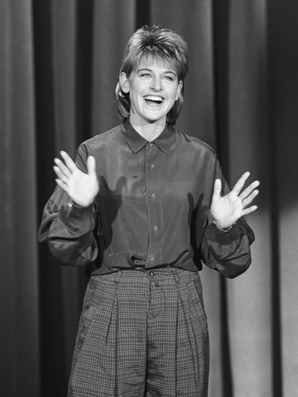 DeGeneres performs on <em>The Tonight Show</em> in 1987.