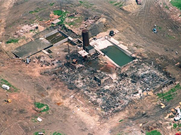 <strong>Branch Davidian:</strong> This aerial shot shows the burned remains of the cult compound April 21, 1993, in Waco, Texas.