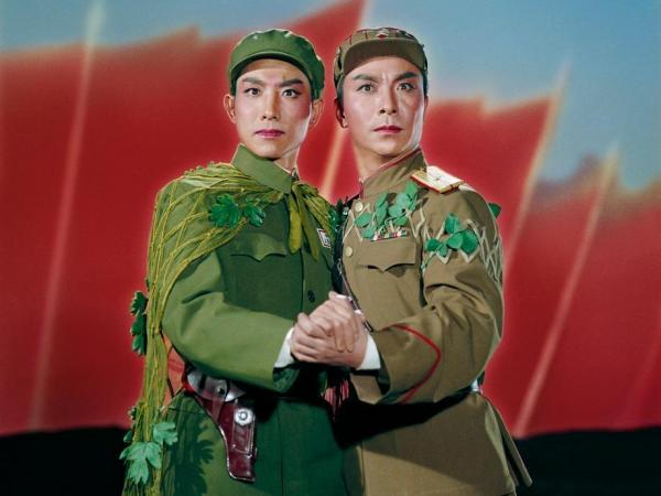 A Chinese and a North Korean embrace in a pledge of everlasting (political) love. From <em>Raid on the White Tiger Regiment</em>, 1971.