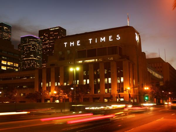 The Tribune Co. is considering the sale of all of its daily newspapers, including the <em>Chicago Tribune</em>, <em>The Baltimore Sun </em>and the <em>Los Angeles Times, </em>whose building is pictured above.