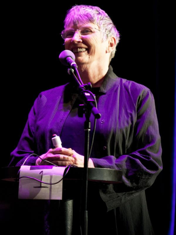 "Lois Lowry plays a game called ""Product Placement"" on the Ask Me Another stage at Wilbur Theatre in Boston."