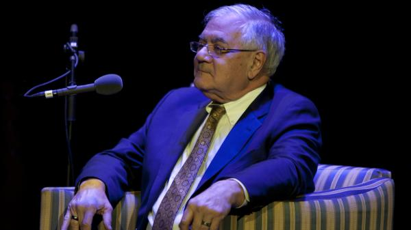Former U.S. Rep. Barney Frank as <em>Ask Me Another</em>'s Very Important Puzzler, at the Wilbur Theatre in Boston.