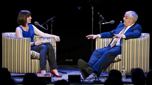 Barney Frank (right), speaking in front of a crowd at the Wilbur Theatre in Boston, told <em>Ask Me Another</em> host Ophira Eisenberg that he's proud of his advocacy work for the gay rights movement.