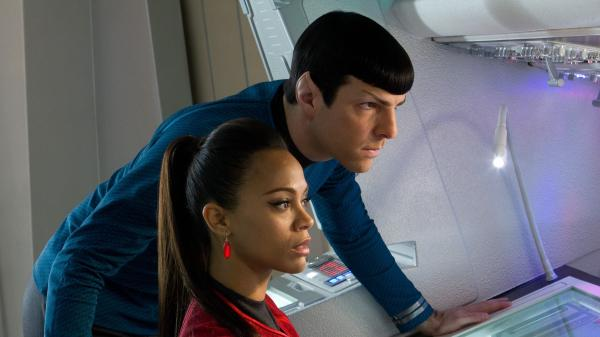 Zoe Saldana is Uhura and Zachary Quinto is Spock in the new J.J. Abrams-directed <em>Star Trek: Into Darkness, </em>the 12th installment in the franchise.