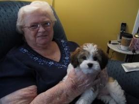 Dorothy Holmes, back home with her new dog, Jack.<em> </em>