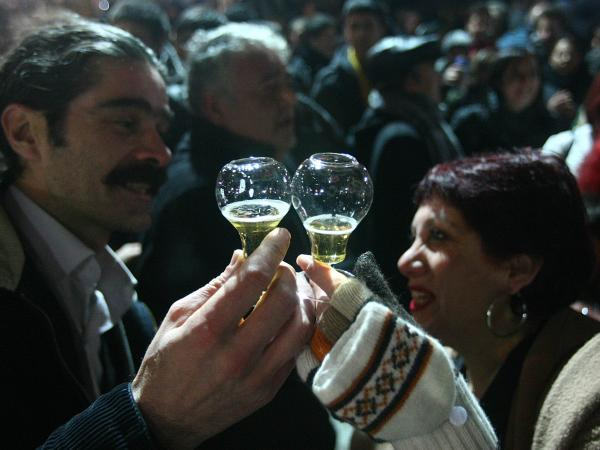 People toast with beer in a park in Ankara in 2011 to protest new regulations tightening alcohol sales in Muslim, but secular, Turkey.