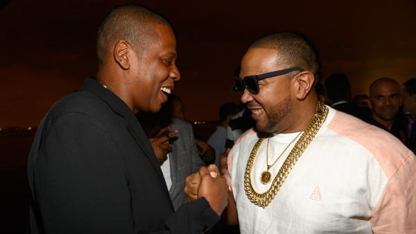 Jay-Z (left) and Timbaland (who produced most of the album) at the release party for <em>Magna Carta Holy Grail</em> July 3 in Brooklyn.