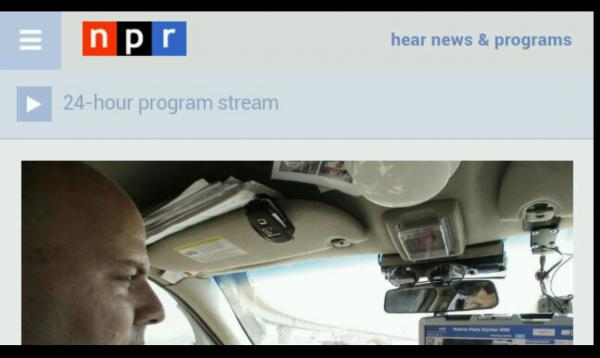 NPR's mobile homepage on Glass.
