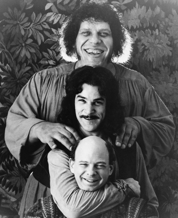 Wallace Shawn (bottom) appeared alongside Mandy Patinkin and Andre the Giant (top) in the 1987 cult classic <em>The Princess Bride</em>.