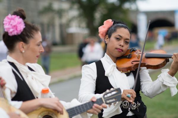 Mariachi Flor de Toloache are the Newport Festival house — er, grounds — band all weekend.