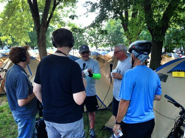 "From tumblr: ""Chatting with <a href=""https://twitter.com/claytonmasters"" target=""_blank"">@claytonmasters</a> of <a href=""https://twitter.com/iowapublicradio"" target=""_blank"">@iowapublicradio</a> at the Des Moines camp. Then heading to the hotel."""