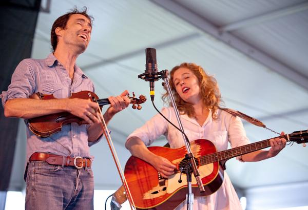 Tift Merritt (right) joins Andrew Bird for a number of old and new songs in a stripped-down set.