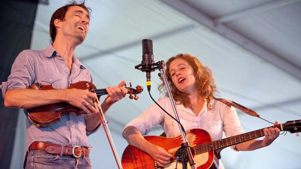 Andrew Bird and Tift Merritt perform at the 2013 Newport Folk Festival.