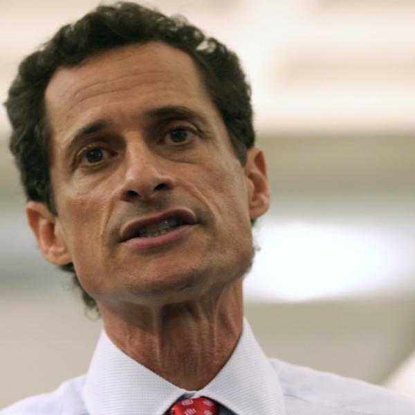 Anthony Weiner, a candidate for New York City mayor, answers questions about sexting at a press conference on July 23.