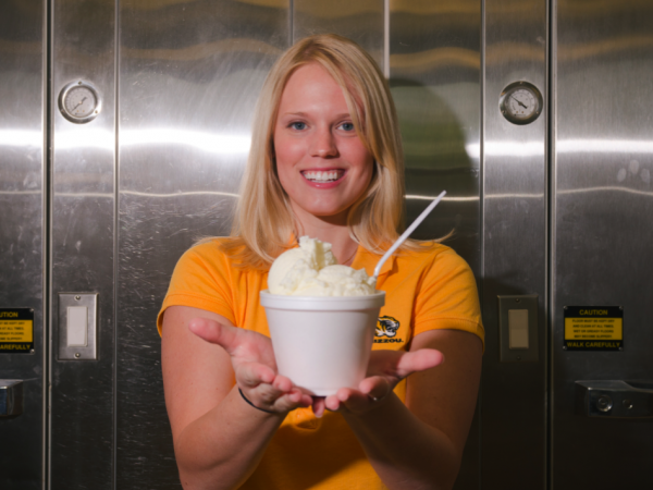 "Former University of Missouri graduate student Elizabeth Fenner poses with her ""flavor release""€ ice cream that shifts from vanilla to cherry flavor in the mouth."