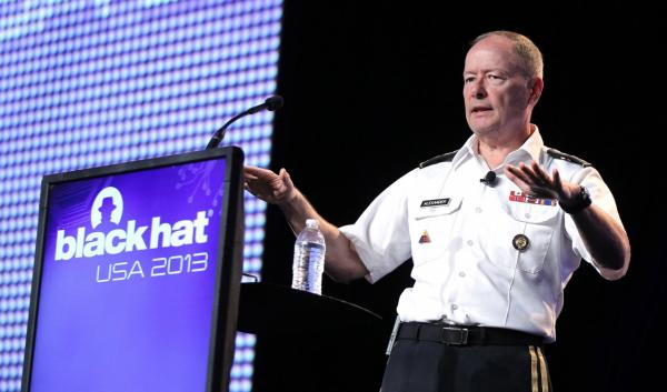 Army General Keith Alexander, head of the National Security Agency delivers a keynote address at the Black Hat hacker conference on Wednesday, July 31, 2013, in Las Vegas. (Isaac Brekken/AP)