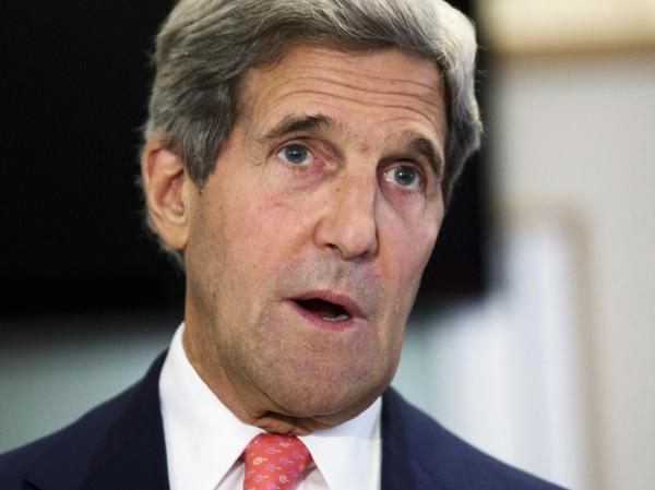 Secretary of State John Kerry delivers a policy address regarding same-sex spouses applying for U.S. visas, at the U.S. Embassy in London on Friday.