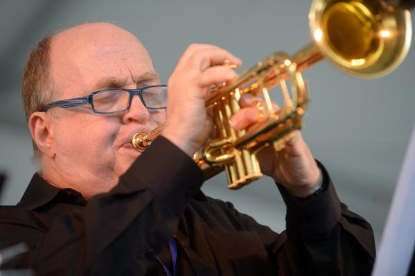 Take a New Orleans-style brass band, then shrink it: That's the Ray Anderson Pocket Brass Band playing the <em>Sweet Chicago Suite</em>. Pictured here is trumpeter Lew Soloff.