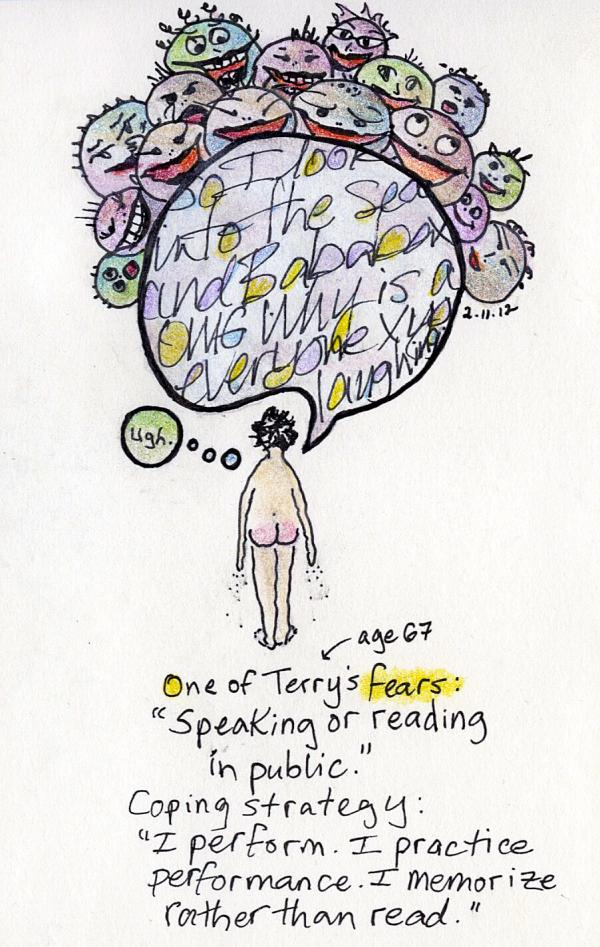 Terry, 67, fears speaking or reading in public.