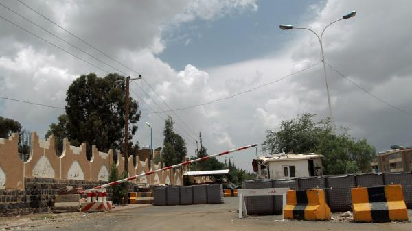 A checkpoint leading to the closed U.S. Embassy compound in the Yemeni capital, Sanaa, on Saturday.