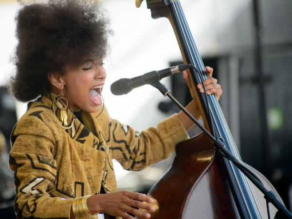 Esperanza Spalding performs at the 2013 Newport Jazz Festival.