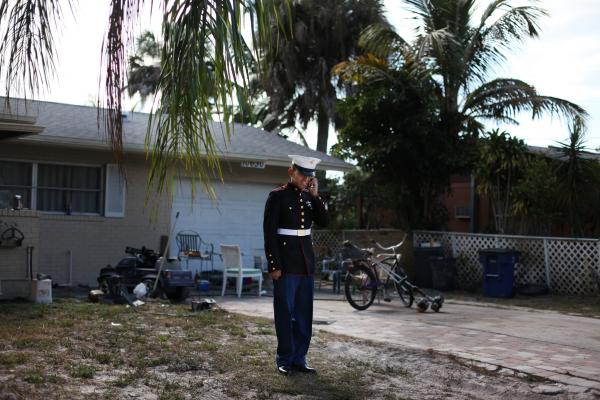 """I wanted to visit my mom, but you're not allowed to leave the country while on your leave,"" Victor says in front of his home in Bonita Springs, Fla."