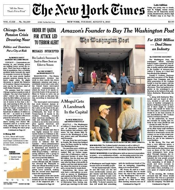 <em>The New York Times</em>' front page on Tuesday.