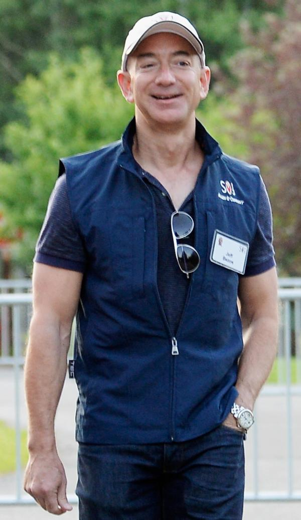 Jeff Bezos, founder and CEO of Amazon.com and soon-to-be owner of <em>The Washington Post</em>, last month in Sun Valley, Idaho.