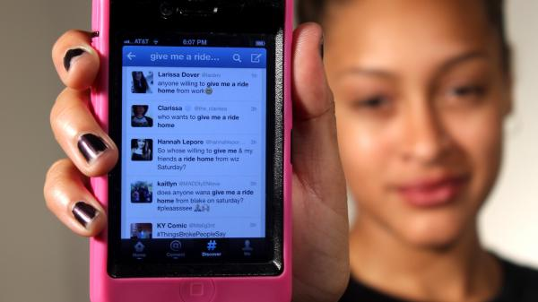 Teenagers turn to their phones and social media to find rides.