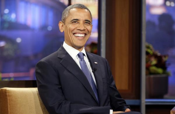 President Barack Obama smiles towards the audience during his appearance for taping of NBC's The Tonight Show with Jay Leno, Oct. 24, 2012, in Burbank, Calif. (Pablo Martinez Monsivais/AP)