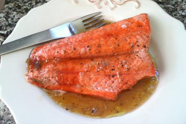 """Grilled Salmon with Maple Glaze and Sea Salt."" (Kathy Gunst/Here & Now)"