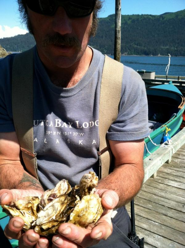 Alaskan oysters. (Kathy Gunst/Here & Now)