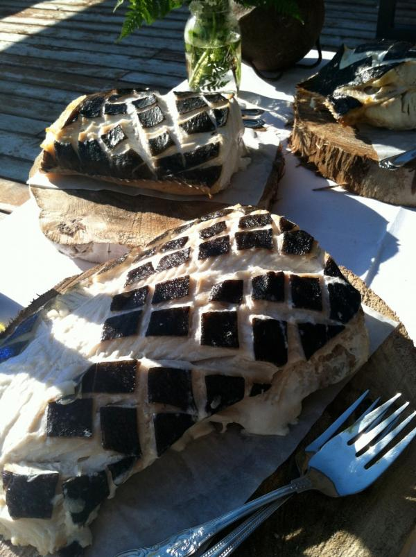 Alaskan grilled halibut. (Kathy Gunst/Here & Now)