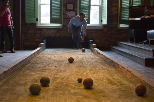 Talbot Martin plays bocce ball at the Washington bar and restaurant Vendetta.