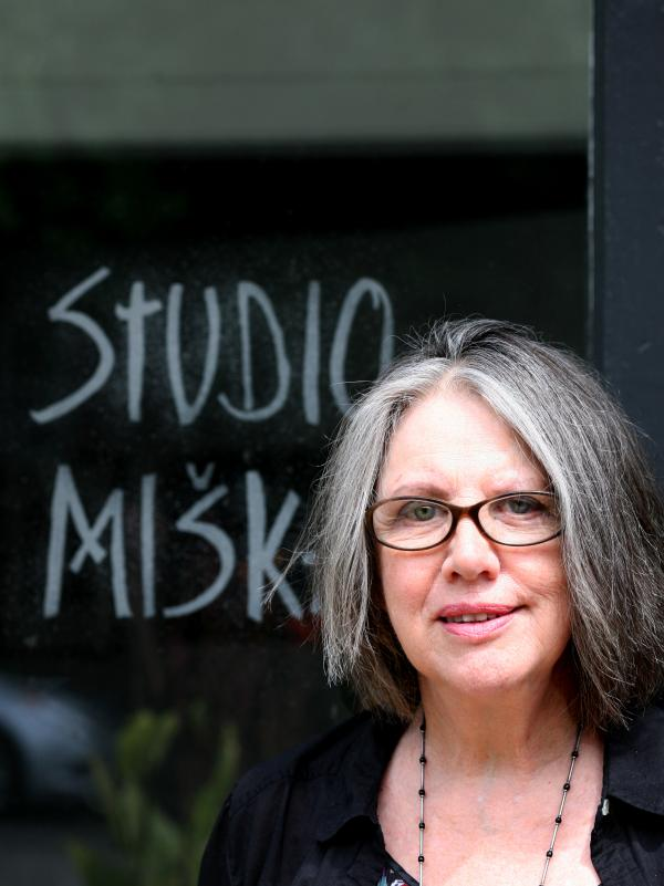 Fiber artist Freda Fairchild at the door of her Studio Miska (Dear Little Mouse).