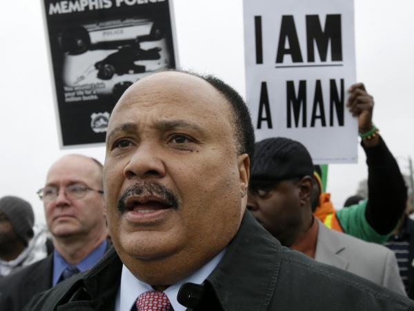 Martin Luther King III takes part in a march on the 45th anniversary of his father's assassination in Memphis, Tenn.