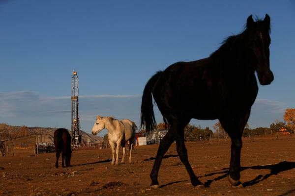 A well rig for horizontal hydraulic fracturing is seen on private land near the Roan Plateau in Garfield County, one of the largest natural gas producing counties in Colorado.