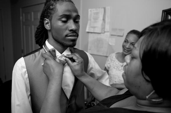Ondelee at home before his prom. In Chicago, prom night is a big deal. Fifty percent of African-American Chicago high school students end up dropping out of high school before senior year. Ondelee graduated from Wendell Phillips Academy High School in Chicago on June 15, and is planning to attend college.