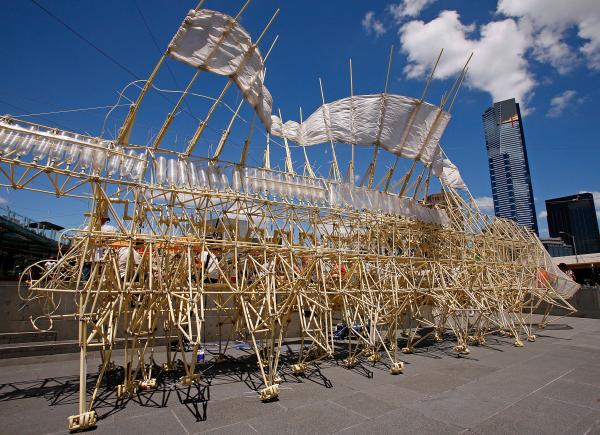 The Strandbeest pays a visit to Melbourne, Australia, in 2012.