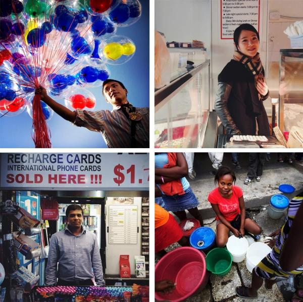 <em>Clockwise from top left: </em>Jonny, Mickey Mouse balloon vendor at Disneyland in Anaheim, Calif. (Sheldon Serkin/@shelserkin); Ting, clerk at Dong Xing Chinese and Japanese Takeaway; Marlene Lucien, Port-au-Prince, Haiti (John Poole/NPR/@johnwpoole); Hussain, newsstand kiosk vendor, Melbourne, Australia (Michael Baranovic/@mishobaranovic)