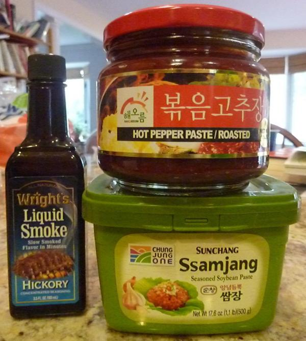 "Korean spice blends bought to make <a href=""http://momofuku.com/new-york/ssam-bar/bo-ssam/"">Momofuku's bo ssam</a> roast pork."