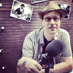 <em>All Songs Considered</em> Host Bob Boilen repping hard with his #nprtattoo at #newportfolk