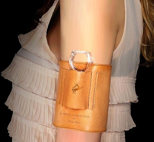 Designer Merve Kahraman also created a leather cuff for carrying the cognac tasting rings.